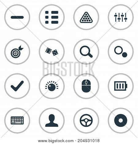 Elements Keyboard, Display, Energy And Other Synonyms Search, Billiards And Display.  Vector Illustration Set Of Simple Play Icons.