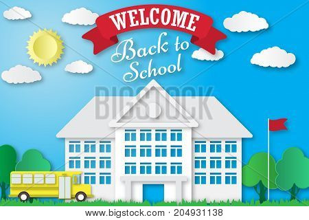 Vector set of Back to School banners in origami paper art style. School poster with building, school bus, nature background, text signs. Paper cut shapes design.