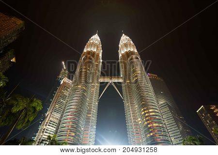 Kuala Lumpur, Malaysia - Aug 10, 2017: Petronas Twin Towers at night.
