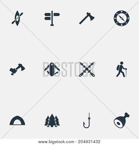 Elements Direction Pointer, Hatchet, Woods And Other Synonyms Barbecue, Forest And Tourist.  Vector Illustration Set Of Simple Tourism Icons.
