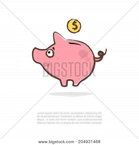 Piggy bank and golden coins. Vector illustration