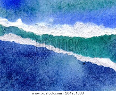 Abstract blue watercolor background, hand painted texture, paper illustration of sea waves
