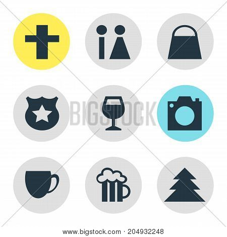 Editable Pack Of Toilet, Cop, Jungle And Other Elements.  Vector Illustration Of 9 Location Icons.