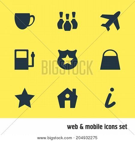 Editable Pack Of Aircraft, Home, Handbag Elements.  Vector Illustration Of 9 Check-In Icons.
