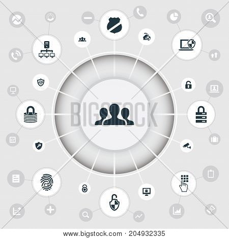 Elements Database, Group, Padlock And Other Synonyms Antivirus, Home And Unlock.  Vector Illustration Set Of Simple Safety Icons.