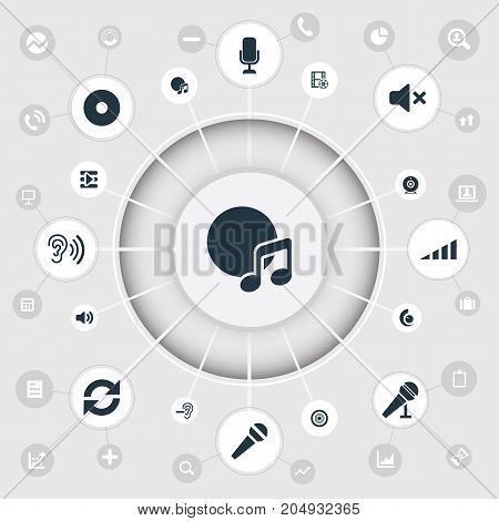 Elements Scale, Cinema, Volume And Other Synonyms Studio, Amplifier And Compact.  Vector Illustration Set Of Simple Dj Icons.