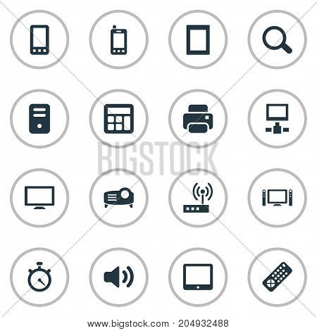 Elements Switch, Touch Computer, Controller And Other Synonyms Photocopier, Cpu And Screen.  Vector Illustration Set Of Simple Device Icons.