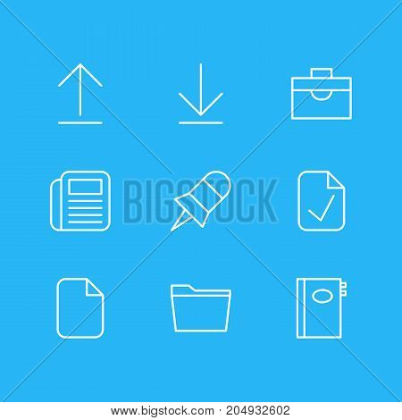 Editable Pack Of Note, Journal, Template And Other Elements.  Vector Illustration Of 9 Office Icons.