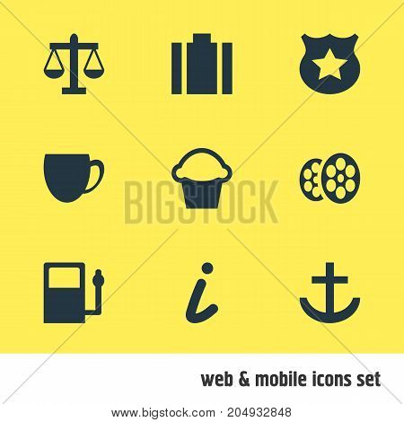 Editable Pack Of Scales, Refueling, Cop And Other Elements.  Vector Illustration Of 9 Location Icons.