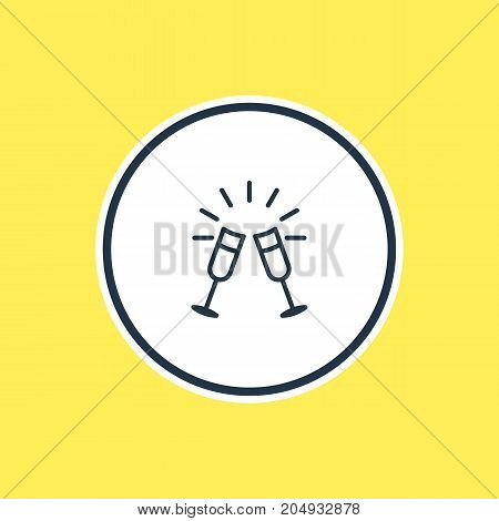Beautiful Feast Element Also Can Be Used As Goblet Element.  Vector Illustration Of Wineglasses Outline.