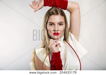 Beauty Fashion Portrait Of A Blonde In Retro Style
