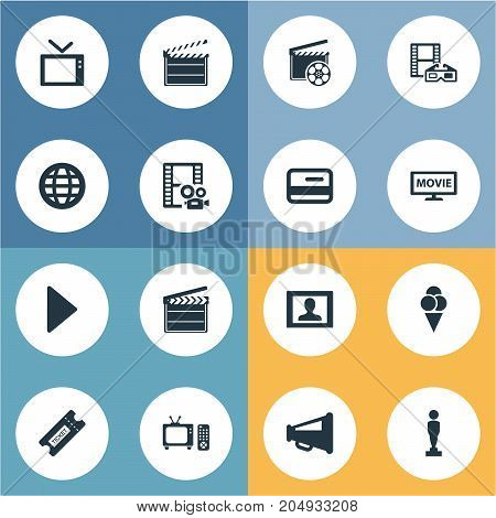 Elements Television, Pass, Production And Other Synonyms Megaphone, Loudspeaker And Ice.  Vector Illustration Set Of Simple Movie Icons.