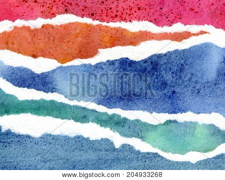 Abstract blue, red and orange watercolor background, hand painted texture, paper illustration