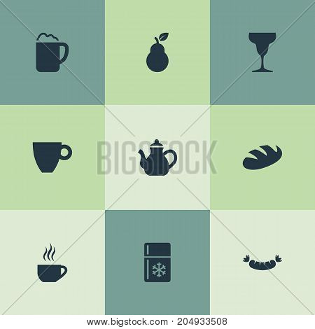 Elements Beerhouse, Breakfast, Bartlett And Other Synonyms Bread, Pear And Fridge.  Vector Illustration Set Of Simple Gastronomy Icons.