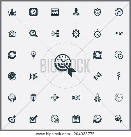 Elements Stopwatch, Delivery, Progress And Other Synonyms Timing, Repetition And Administrator.  Vector Illustration Set Of Simple Management Icons.