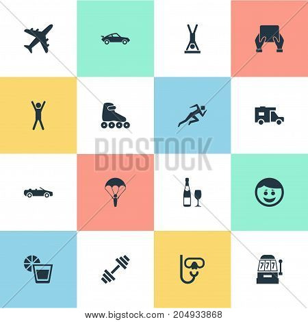 Elements Car, Distance Learning, Weightlifting And Other Synonyms Happy, Wineglass And Joy.  Vector Illustration Set Of Simple Health Icons.