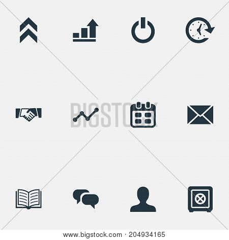 Elements Greeting, Strongbox, Agenda And Other Synonyms Chatting, E-Mail And Diagran.  Vector Illustration Set Of Simple Entrepreneurship Icons.
