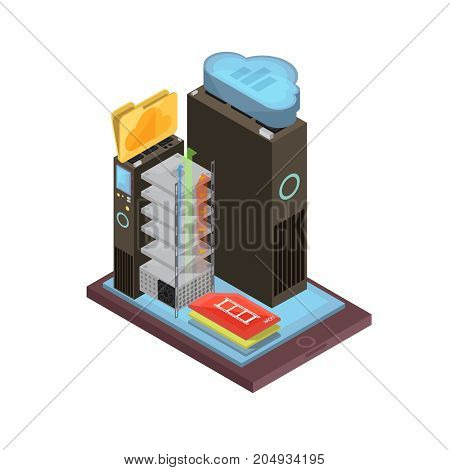 Cloud storage isometric design with video files and folder, server racks on mobile device screen vector illustration