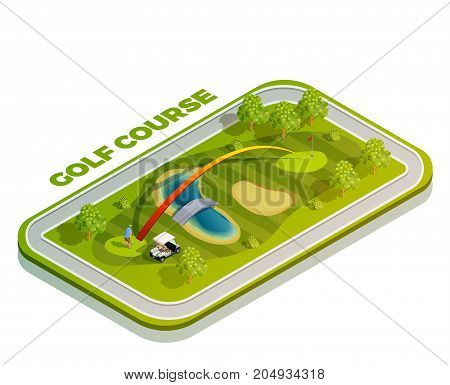 Golf isometric icon composition with rectangular golf course buggy car player and slashing trail with text vector illustration