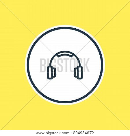 Beautiful Leisure Element Also Can Be Used As Earmuff Element.  Vector Illustration Of Headphone Outline.