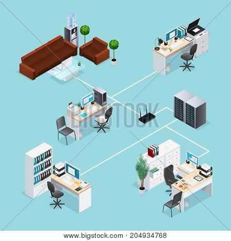 Office computer net with connection of workplaces and waiting area toward server through router isometric vector illustration