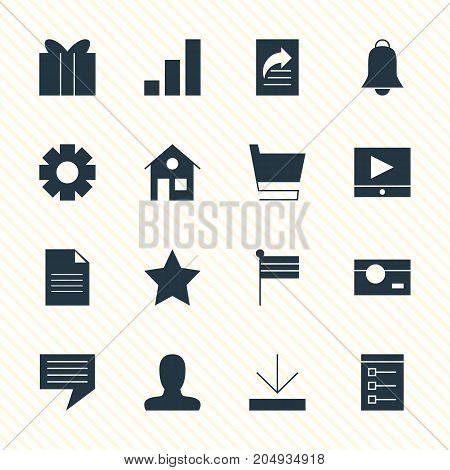 Editable Pack Of Notification, Board, House And Other Elements.  Vector Illustration Of 16 Online Icons.