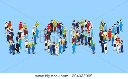 Profession isometric set with groups of uniformed faceless human characters forming the word work vector illustration