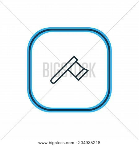 Beautiful Industry Element Also Can Be Used As Hatchet Element.  Vector Illustration Of Axe Outline.
