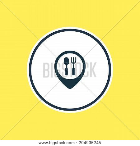Beautiful Meal Element Also Can Be Used As Restaurant Element.  Vector Illustration Of Dinner Place Outline.
