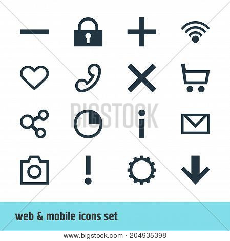 Editable Pack Of Downward, Cordless Connection, Stopwatch And Other Elements.  Vector Illustration Of 16 Member Icons.