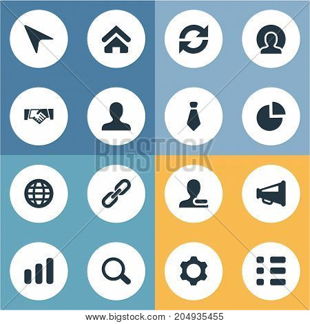 Elements Remove Cantact, Agreement, Loudspeaker And Other Synonyms Globe, Tie And Internet.  Vector Illustration Set Of Simple People Icons.