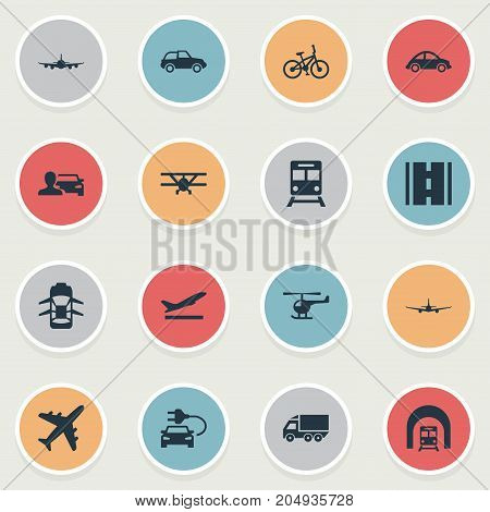 Elements Sky Travel, Helicopter, Air Logistics And Other Synonyms Jet, Subway And Tuning.  Vector Illustration Set Of Simple Transport Icons.