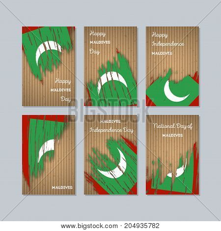 Maldives Patriotic Cards For National Day. Expressive Brush Stroke In National Flag Colors On Kraft