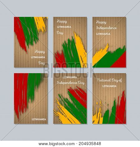 Lithuania Patriotic Cards For National Day. Expressive Brush Stroke In National Flag Colors On Kraft