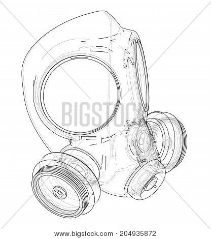 Gas mask. Vector rendering of 3d. Wire-frame style. The layers of visible and invisible lines are separated