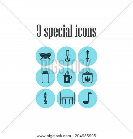 Editable Pack Of Sieve, Dinner Table, Soup Spoon And Other Elements.  Vector Illustration Of 9 Kitchenware Icons.