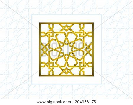Islamic yellow pattern on white. Template with arabic geometric pattern, east ornament, indian ornament, persian motif. Celebration card.