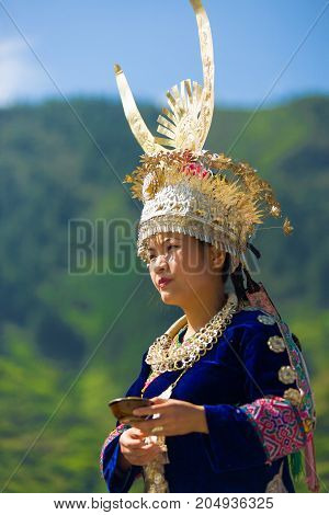 Miao Woman Festival Traditional Horn Headdress