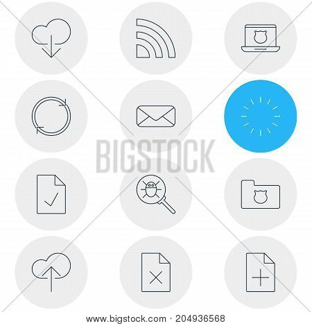 Editable Pack Of Cloud Download, Document Adding, Refresh And Other Elements.  Vector Illustration Of 12 Network Icons.