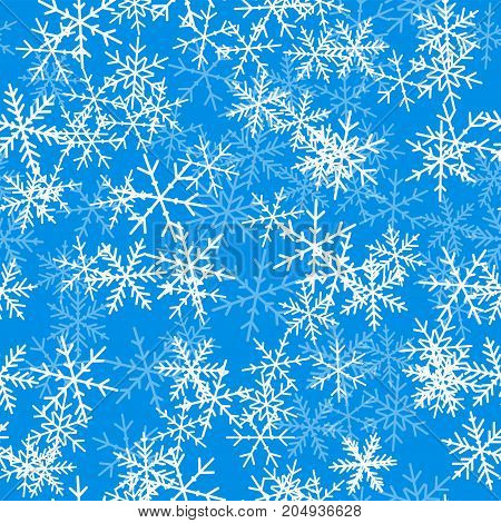 Light Blue Snowflakes Seamless Pattern On Blue Christmas Background. Chaotic Scattered Light Blue Sn