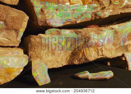 Rare boulder opal in Coober Pedy, Australia.