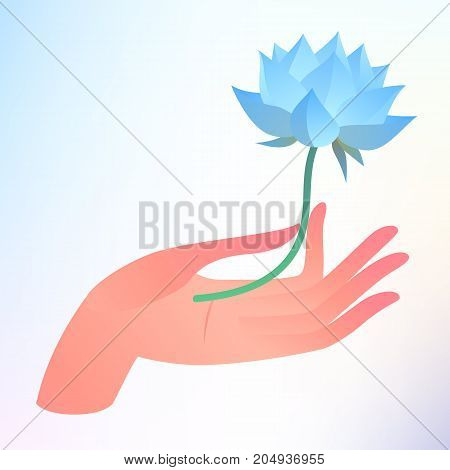 Buddha Purnima or Vesak card. Vector illustration with elegant hand holding lotus flower on light background.