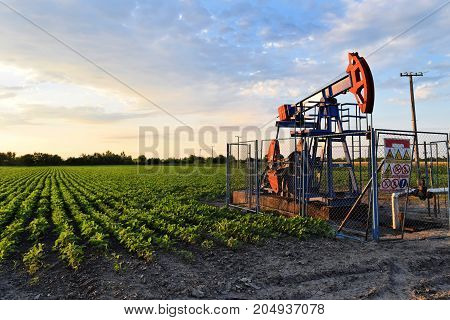 A crude oil pump in an agricultural farmland during dusk time - dirty technology