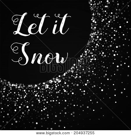Let It Snow Greeting Card. Random Falling White Dots Background. Random Falling White Dots On Red Ba