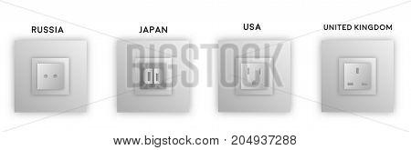 Design various black grey electrical outlet power socket types. Vector eps10.