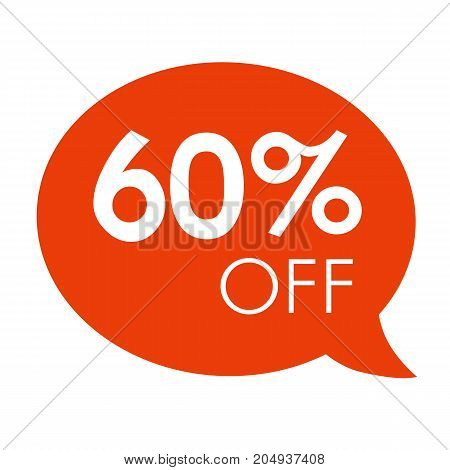 Special offer 60% sale orange speech bubble tag vector illustration. Discount offer price label, symbol advertising in retail, sale promo marketing, 60% off discount sticker, ad offer on shopping day