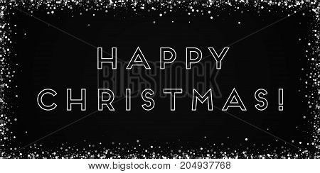 Happy Christmas Greeting Card. Random Falling White Dots Background. Random Falling White Dots On Bl