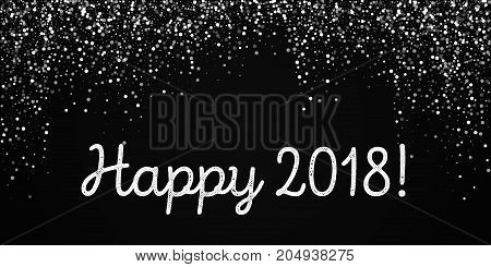 Happy 2018 Greeting Card. Random Falling White Dots Background. Random Falling White Dots On Black B