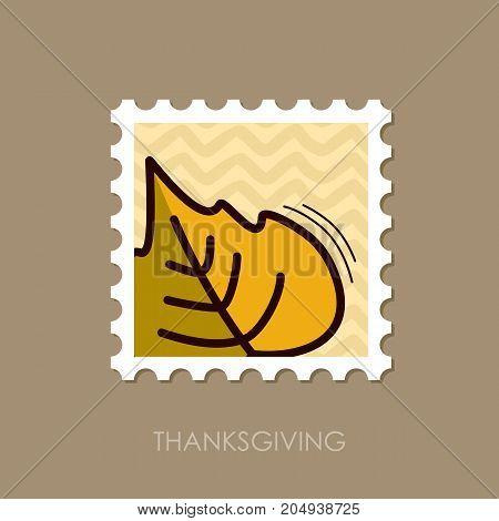 Autumn Leaves poplar stamp. Harvest. Thanksgiving vector eps 10
