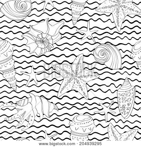 Seamless Pattern With Doodle Shells And Waves